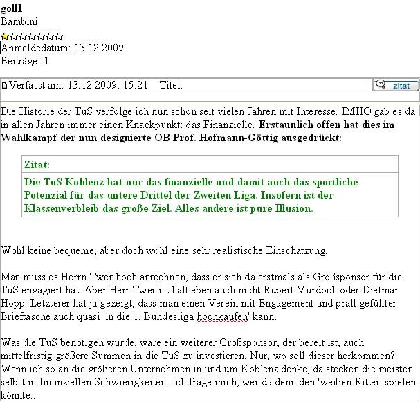 Homepage 23.12.2009 aus einem Block Zitat JHG zur TUS
