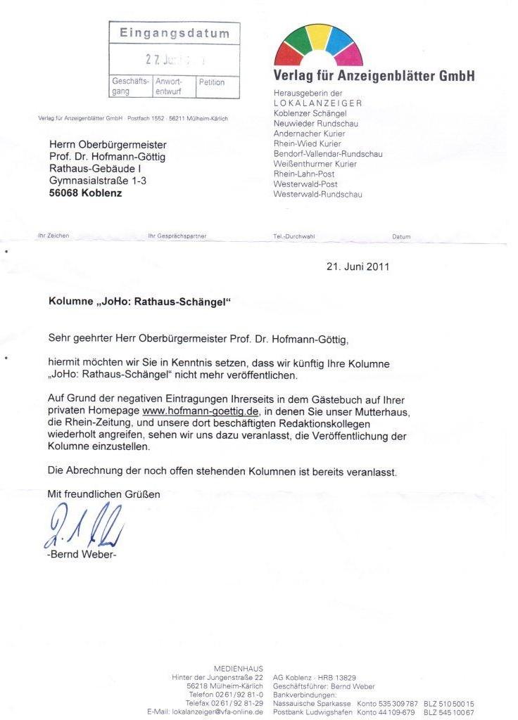 Mittelrhein Verlag Stellt Joho Rathaus Schängel Kolumne Von Ob