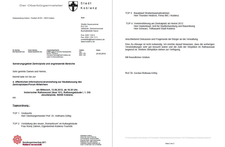 offene briefe/dokumente |, Einladung