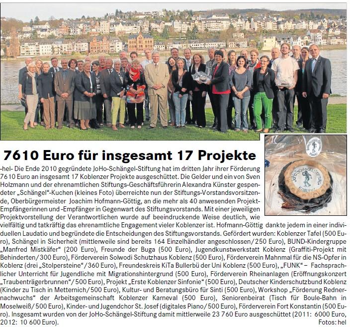 Lokalanzeiger 24.4.2013, S. 3 JHG-Stiftung Förderung 2013