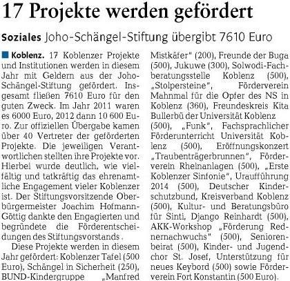 rz 22.4.2013, S. 14_1 Artikel JoHo-Schängel-Stiftung Förderung 2013