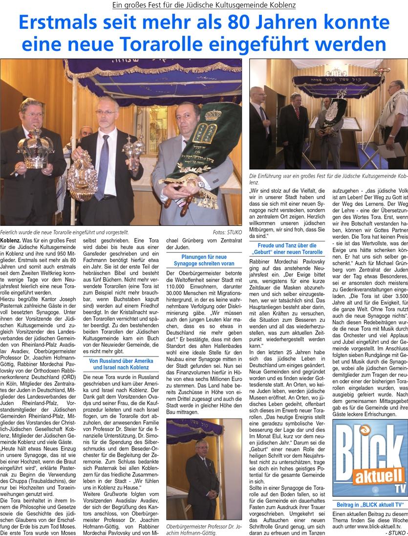Ba 27.9.2014, S. 2 Jüdische Gemeinde