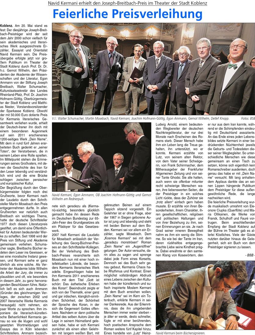 ba 27.9.2014, S. 12 Bretibach-Preis