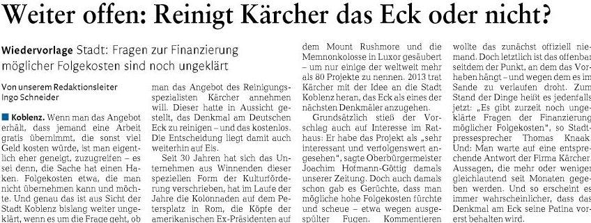 Zum Angebot Der Reinigung Des Denkmals Am Koblenzer Deutschen Eck