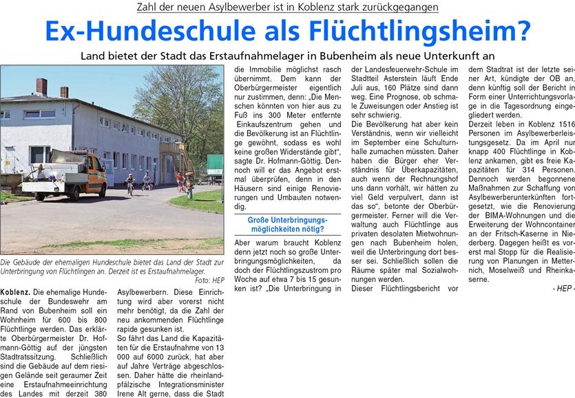 ba 28.4.2016, S. 20 Flüchtlingsheim