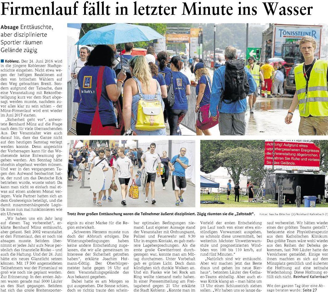1 Koblenzer Münz Firmenlauf Wurde Abgesagt Wegen Unwetterwarnung